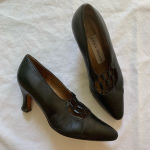 Evan Picone | Vintage Black Leather Pumps Heels